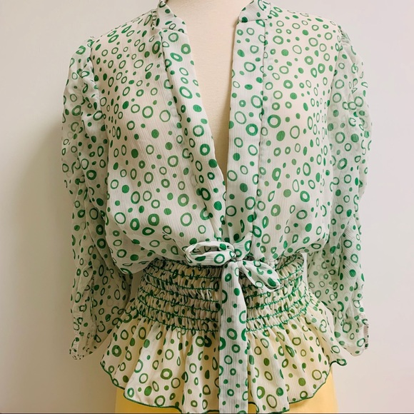 Vintage Tops - vintage green and white sheer blouse
